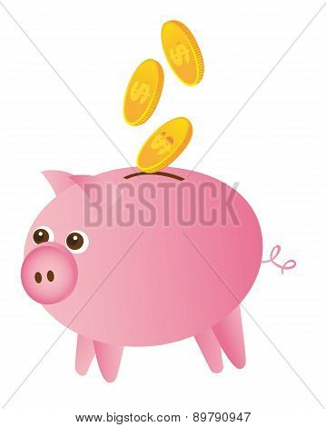 Piggy And Gold Coins Isolated Over White Background Vector