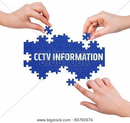 Hands With Puzzle Making Cctv Information Word  Isolated On White