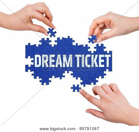 Hands With Puzzle Making Dream Ticket Word  Isolated On White
