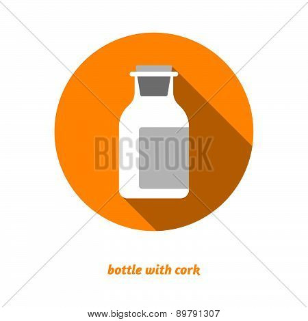Flat Medical Bottle Icon. Drugs Symbol, Milk Bottle, Health Care.