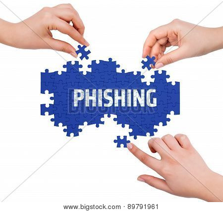 Hands With Puzzle Making Phishing Word  Isolated On White