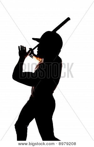 Silhouette Baseball End Swing