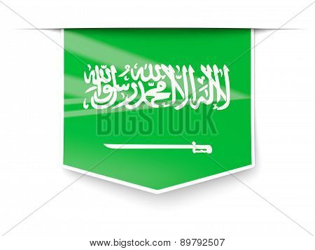 Square Label With Flag Of Saudi Arabia