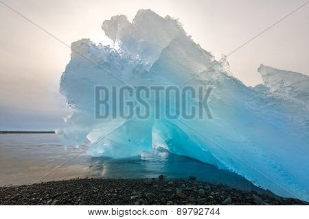Iceberg beach at Jokulsarlon Iceland sunrise