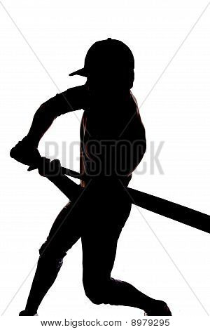Silhouette Baseball Swing Beginning