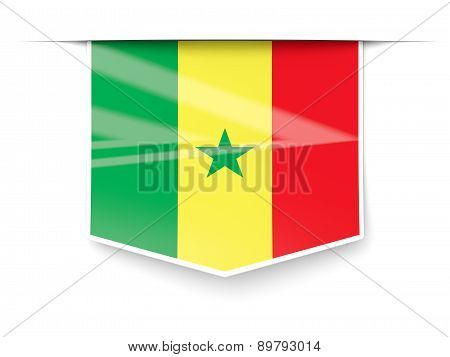 Square Label With Flag Of Senegal