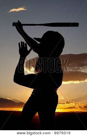 Silhouette Baseball Swing One Hand Sunset