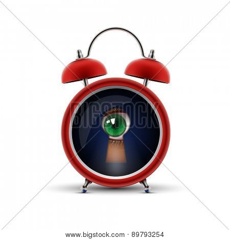 red alarm clock with keyhole eye