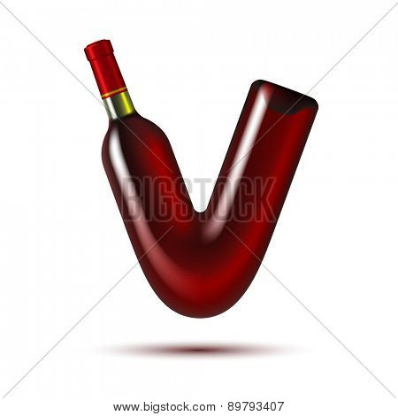 Red Wine Bottle in shape of V symbol