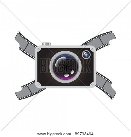 Hipster Retro Style Photo Camera with Crossed Film