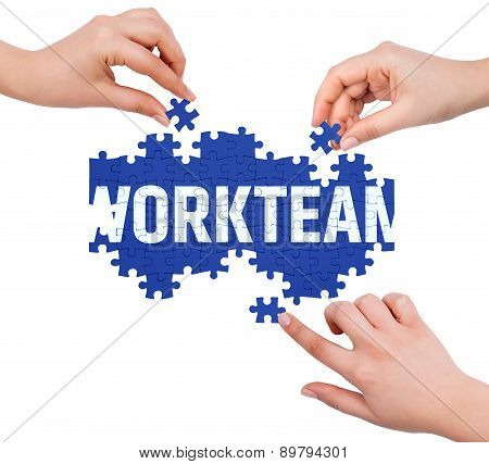 Hands With Puzzle Making Workteam Word  Isolated On White