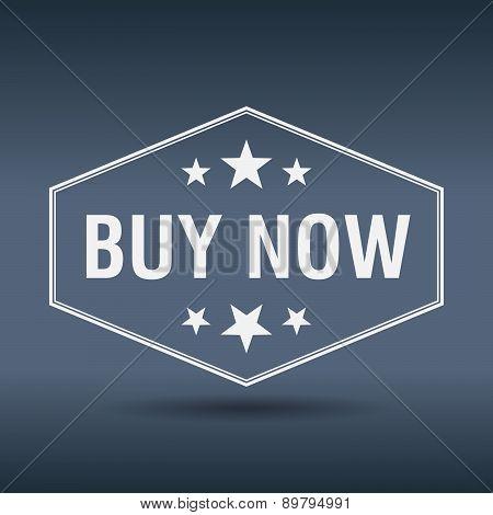 Buy Now Hexagonal White Vintage Retro Style Label