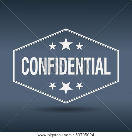 Confidential Hexagonal White Vintage Retro Style Label