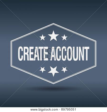Create Account Hexagonal White Vintage Retro Style Label