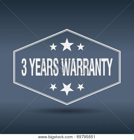 3 Years Warranty Hexagonal White Vintage Retro Style Label
