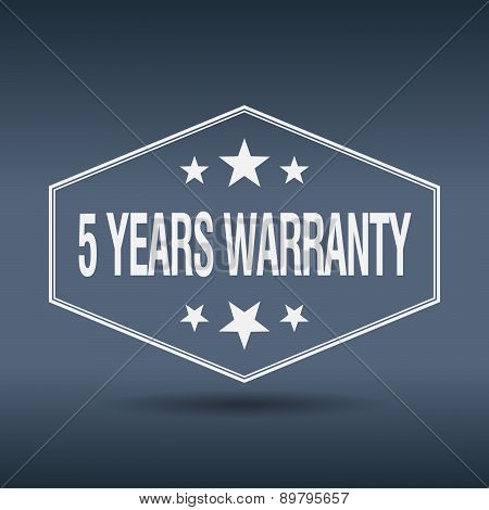 5 Years Warranty Hexagonal White Vintage Retro Style Label