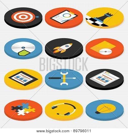 Flat Isometric Circle Website Business And Office Icons Set