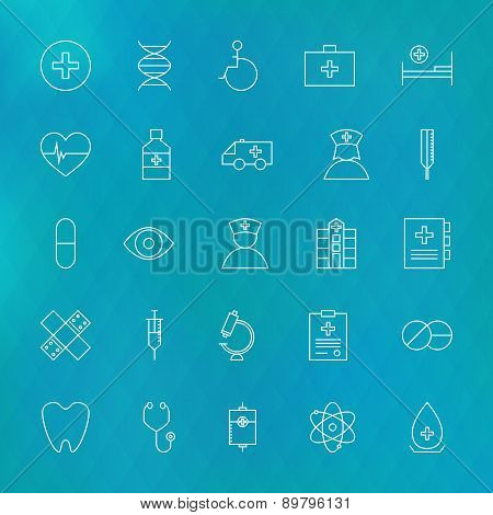 Medical And Health Care Line Icons Set Over Polygonal Blurred Background