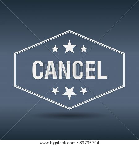 Cancel Hexagonal White Vintage Retro Style Label