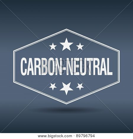 Carbon-neutral Hexagonal White Vintage Retro Style Label