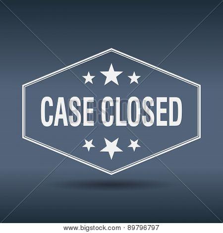 Case Closed Hexagonal White Vintage Retro Style Label