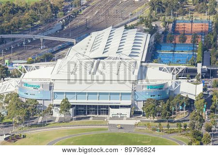 Aerial view of Hisense Arena in Melbourne