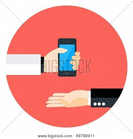 Two Business Man Hands With Phone Circle Icon