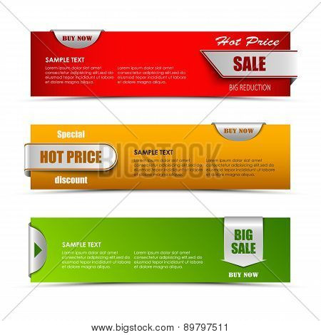 Modern Horizontal Banners With Pointers Sale