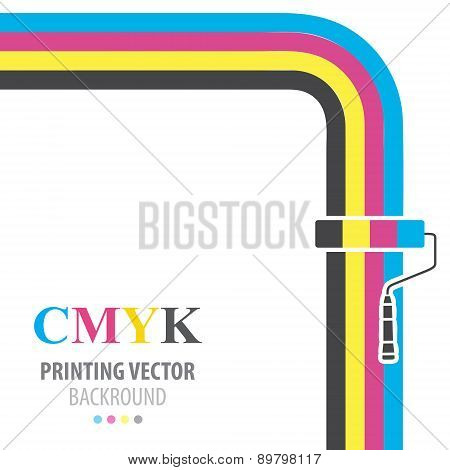 CMYK vector flat  background. Paint roller.