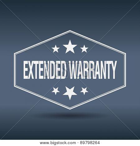 Extended Warranty Hexagonal White Vintage Retro Style Label
