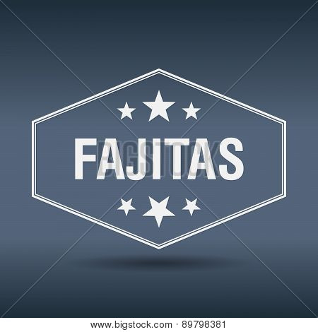 Fajitas Hexagonal White Vintage Retro Style Label