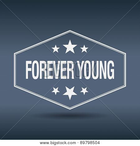 Forever Young Hexagonal White Vintage Retro Style Label