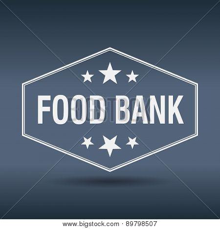 Food Bank Hexagonal White Vintage Retro Style Label