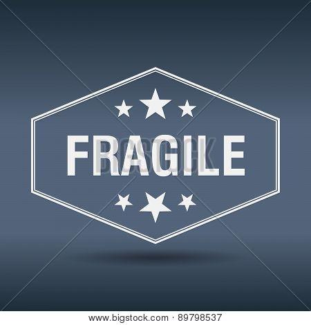 Fragile Hexagonal White Vintage Retro Style Label