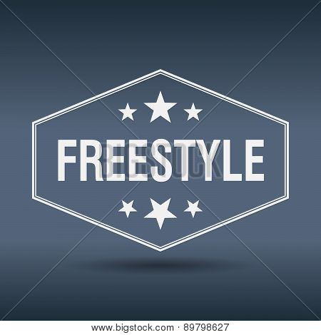 Freestyle Hexagonal White Vintage Retro Style Label