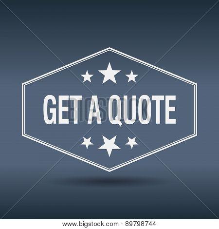 Get A Quote Hexagonal White Vintage Retro Style Label