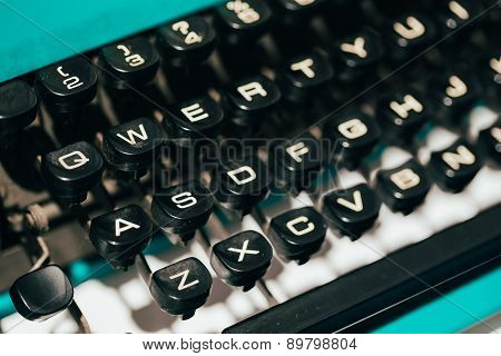Close Up Of Antique Typewriter Keys. Old Manual Retro Keys, Vint