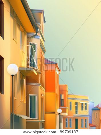 Urban landscape, a typical residential street of the provincial town, vector illustration, cozy houses in the background, beautiful city views in a lovely sunny day