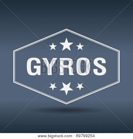 Gyros Hexagonal White Vintage Retro Style Label