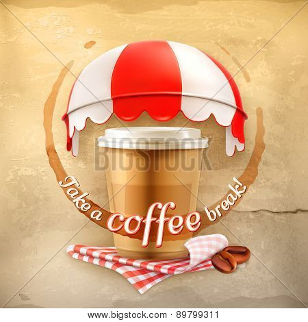 Cup of coffee with coffee stain, tablecloths, coffee grains and awnings on grunge background, vector poster take a coffee break, cafe decoration, advertising for cafe and coffee shops