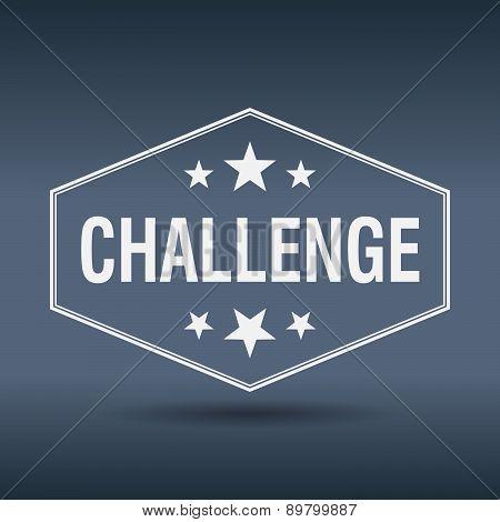 Challenge Hexagonal White Vintage Retro Style Label