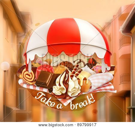 Coffee and pastry shop, confectionery, promotional sign, street background, invitation to a break, lunch time, vector advertising signboard for chocolate houses, cafe and coffee shops