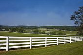 pic of split rail fence  - Beautiful landscape view of horse country with white split - JPG