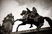 pic of duke  - The Duke of Wellington Statue and bell tower of Balmoral Hotel in Edinburgh - JPG