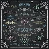 stock photo of scroll  - Set of Colorful Hand Drawn Doodle Design Elements - JPG