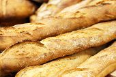 picture of baguette  - A few fresh baked baguettes - JPG