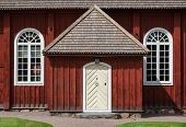 stock photo of chapels  - Traditional Swedish architectural detail from Amsberg Chapel in the Swedish folklore district Dalecarlia - JPG
