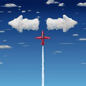 image of opposites  - Decision making business concept as an acrobatic jet airplane flying up towards clouds shaped as arrows pointint in opposite directions as a metaphor for making quick difficult decisions - JPG