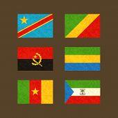 Постер, плакат: Flags Of Congo Angola Cameroon Gabon And Equatorial Guinea