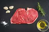 foto of rib eye steak  - Fresh uncooked rib - JPG